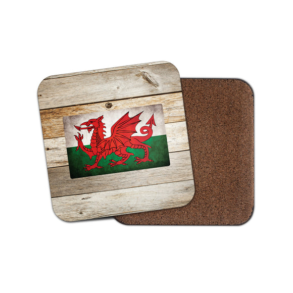 Welsh Flag Cork Backed Drinks Coaster for Tea & Coffee #0026