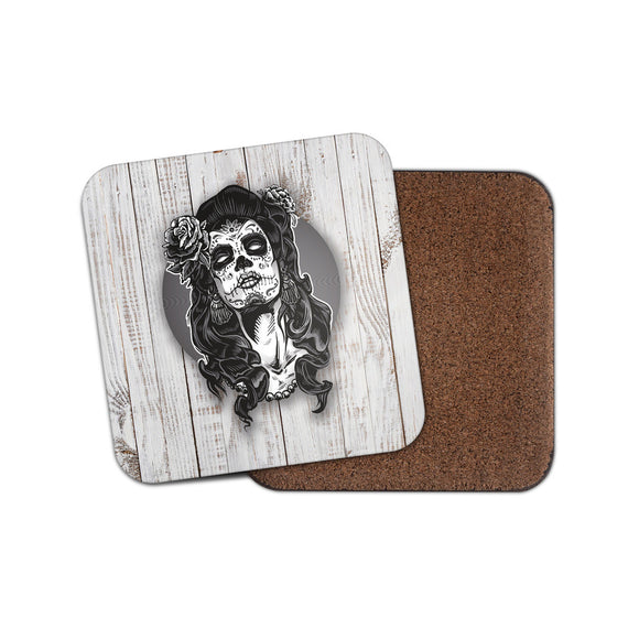 Sugar Skull Girl Drinks Coaster Mat Square Cork Backed Tea Coffee #0110