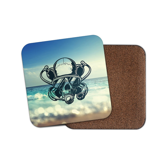 Scuba Diver Skull Twinset Drinks Coaster Mat Square Cork Backed Tea Coffee #0113