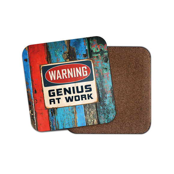 Genius at Work Drinks Coaster Mat Square Cork Backed Tea Coffee #0116