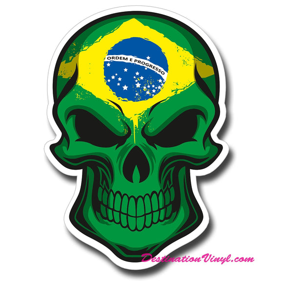 2 x Brazil Flag Skull Cool Funny WINDOW CLING STICKER Car Van Campervan Glass #0125