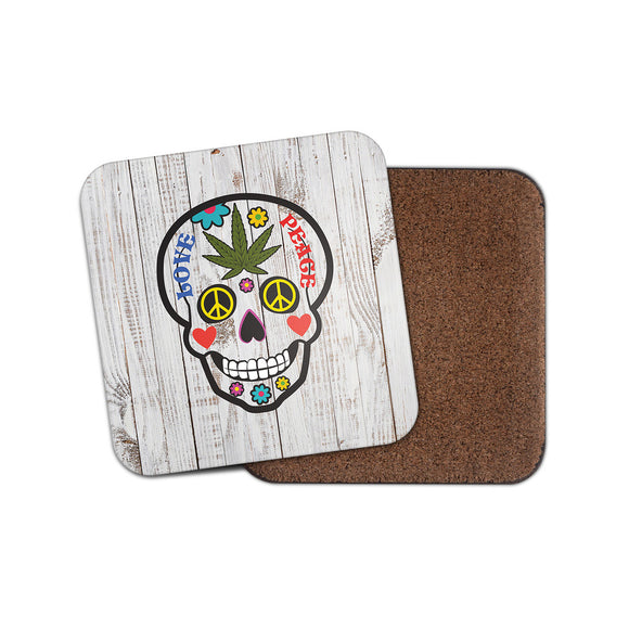 Sugar Skull Love Peace Drinks Coaster Mat Square Cork Backed Tea Coffee #0189