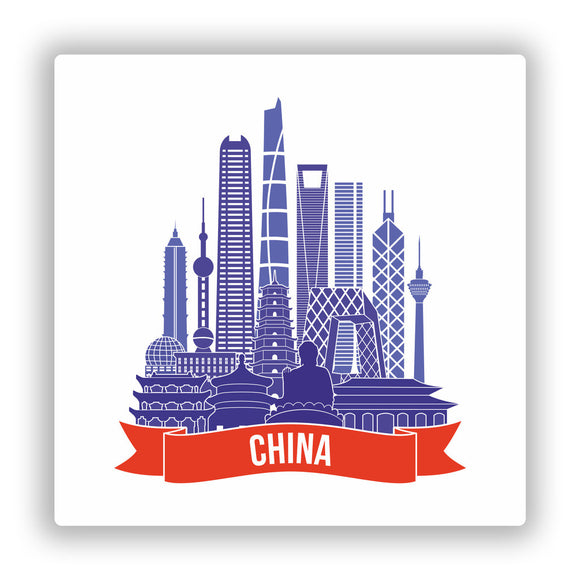 2 x China Skyline Vinyl Stickers Travel Luggage #10006