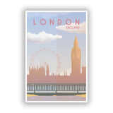 2 x London England Skyline Vinyl Stickers Travel Luggage #10009