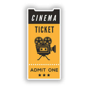 2 x Cinema Ticket Promotional Vinyl Stickers Travel Luggage Business #10013