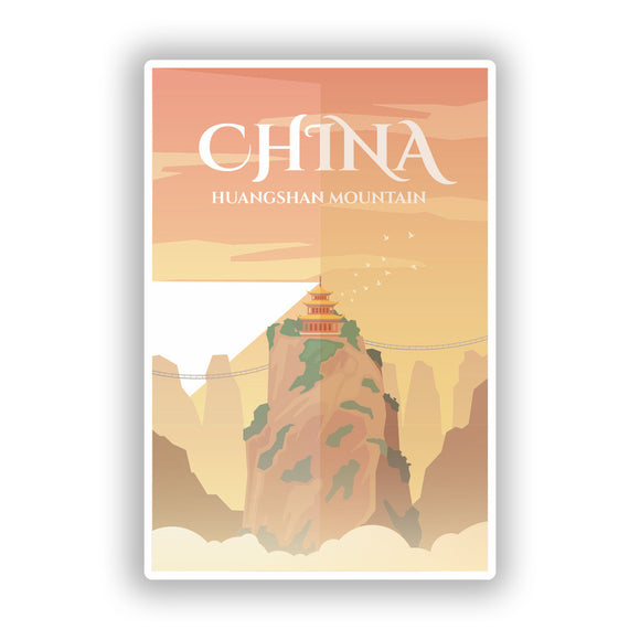 2 x China Huangshan Mountain Skyline Vinyl Stickers Travel Luggage #10015