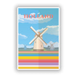2 x Holland Windmill Skyline Vinyl Stickers Travel Luggage #10017