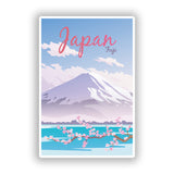 2 x Japan Fuji Mountain Vinyl Stickers Travel Luggage #10020