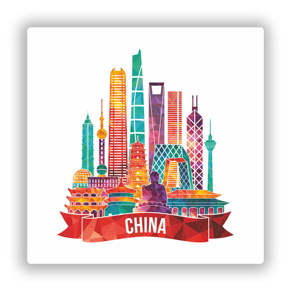 2 x China Skyline Vinyl Stickers Travel Luggage #10026