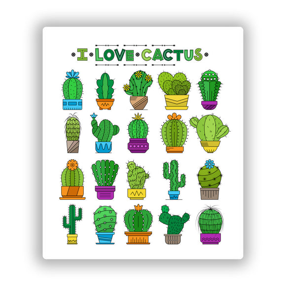 2 x I Love Cactus Vinyl Stickers Travel Luggage #10028