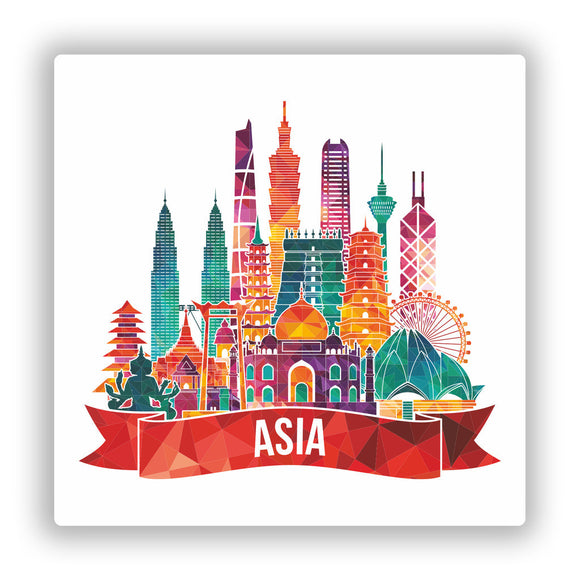 2 x Asia Skyline Vinyl Stickers Travel Luggage #10029
