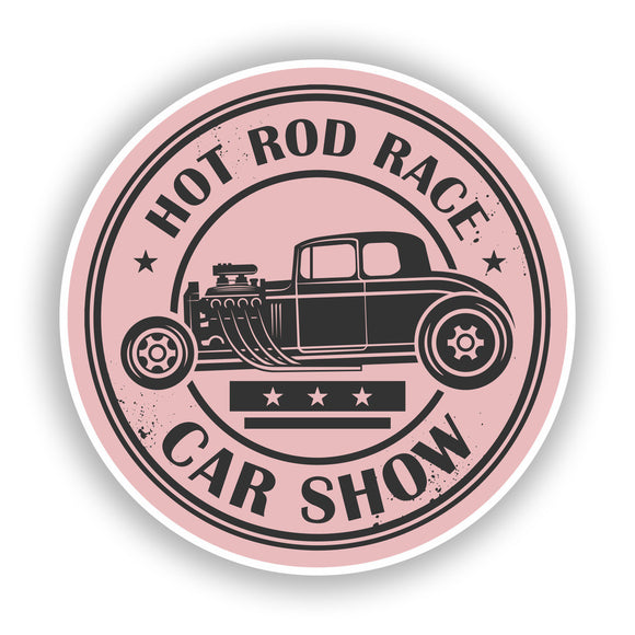 2 x Hot Rod Race Car Show Vinyl Stickers Travel Luggage #10045