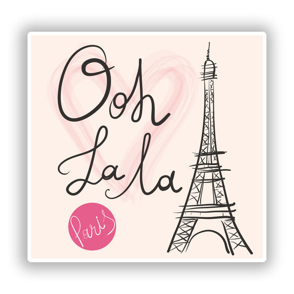 2 x Ooh La La Paris Vinyl Stickers Travel Luggage #10048