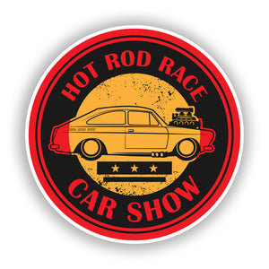 2 x Hot Rod Race Car Show Vinyl Stickers Travel Luggage #10050