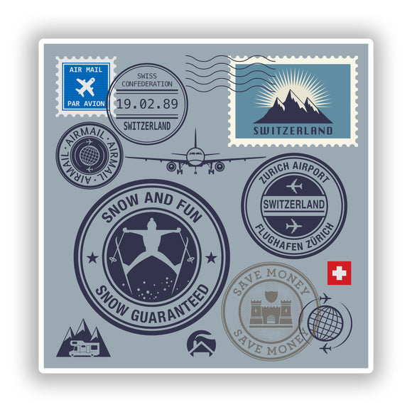 2 x Switzerland Mixed Stamps Vinyl Stickers Travel Luggage #10056