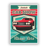 2 x Classic Cars Car Show Vinyl Stickers Travel Luggage #10058