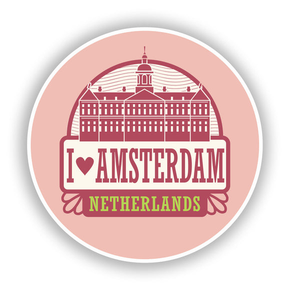 2 x I Love Amsterdam Netherlands Vinyl Stickers Travel Luggage #10061