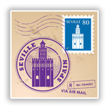 2 x Seville Spain Mixed Stamps Vinyl Stickers Travel Luggage #10067