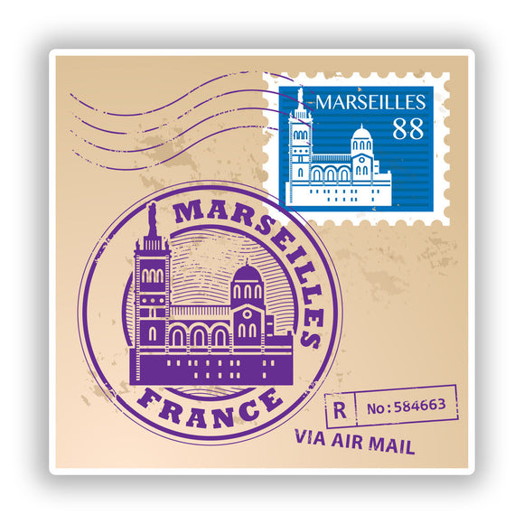2 x Marseilles France Mixed Stamps Vinyl Stickers Travel Luggage #10068