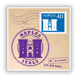 2 x Naples Italy Mixed Stamps Vinyl Stickers Travel Luggage #10069