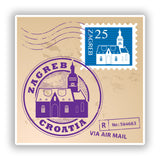 2 x Zagreb Croatia Mixed Stamps Vinyl Stickers Travel Luggage #10070