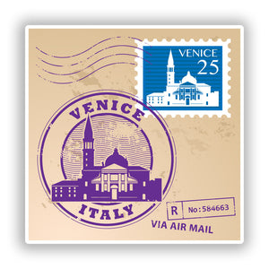2 x Venice Italy Mixed Stamps Vinyl Stickers Travel Luggage #10071