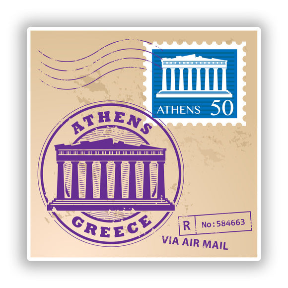 2 x Athens Greece Mixed Stamps Vinyl Stickers Travel Luggage #10073