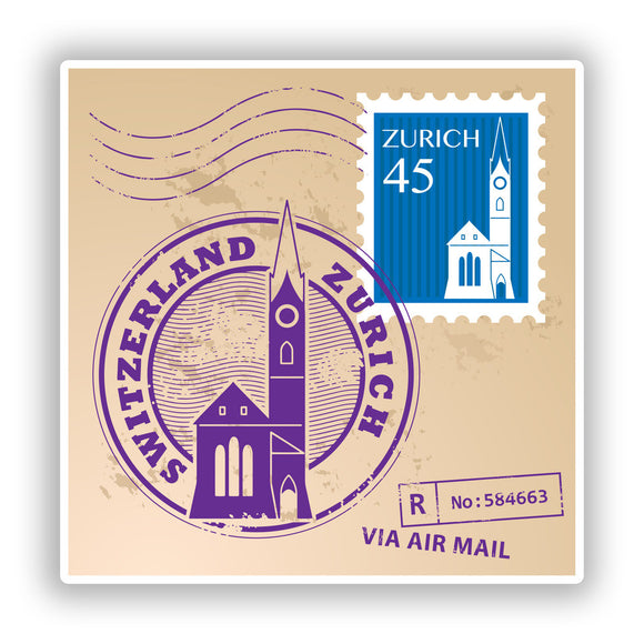 2 x Switzerland Zurich Mixed Stamps Vinyl Stickers Travel Luggage #10074