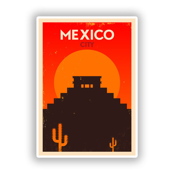 2 x Mexico City Vinyl Stickers Travel Luggage #10075
