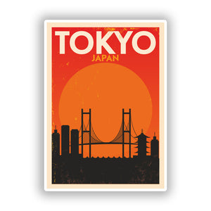 2 x Tokyo Japan Skyline Vinyl Stickers Travel Luggage #10079
