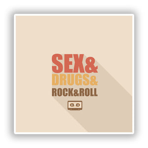 2 x Sex Drugs Rock and Roll Vinyl Stickers Travel Luggage #10085