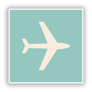 2 x Plane Symbol Vinyl Stickers Travel Luggage #10087