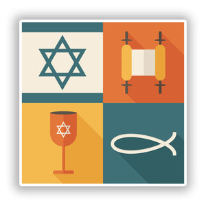 2 x Jewish Religious symbols Vinyl Stickers Travel Luggage #10090