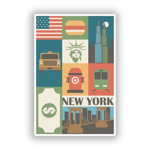 2 x New York Vinyl Stickers Travel Luggage #10100