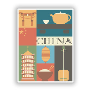 2 x China Vinyl Stickers Travel Luggage #10101