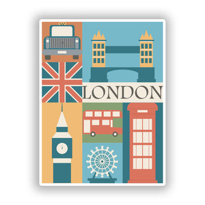 2 x London Vinyl Stickers Travel Luggage #10106