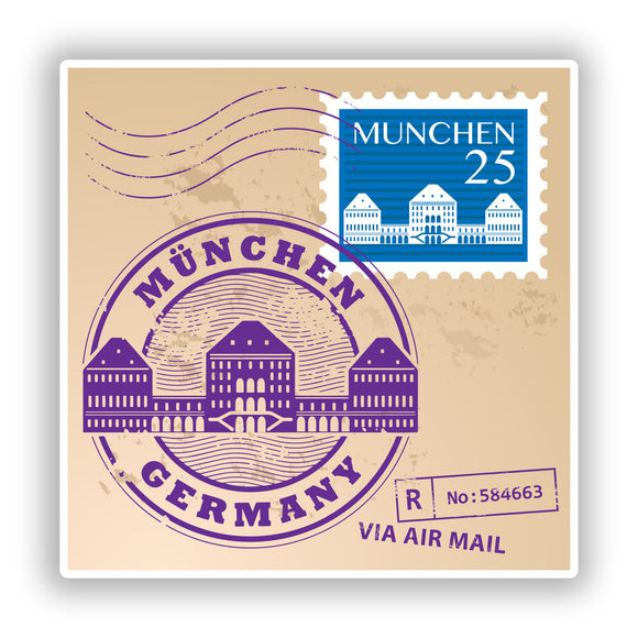 2 x Munchen Germany Mixed Stamps Vinyl Stickers Travel Luggage #10131
