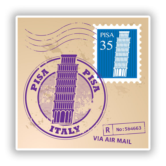 2 x Pisa Italy Mixed Stamps Vinyl Stickers Travel Luggage #10134