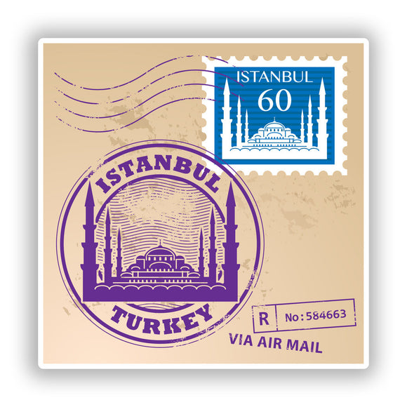 2 x Istanbul Mixed Stamps Vinyl Stickers Travel Luggage #10135