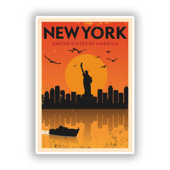 2 x New York Vinyl Stickers Travel Luggage #10136