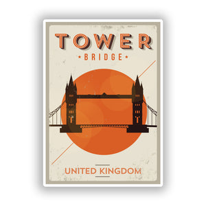 2 x Tower Bridge UK Vinyl Stickers Travel Luggage #10138