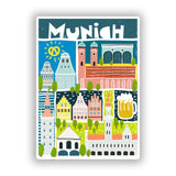 2 x Munich Vinyl Stickers Travel Luggage #10140