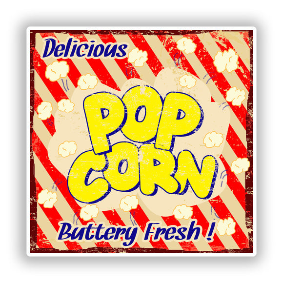 2 x Delicious Pop Corn Vinyl Stickers Travel Luggage #10145