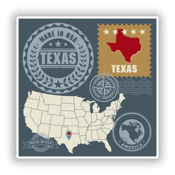 2 x Texas USA Vinyl Stickers Travel Luggage #10151