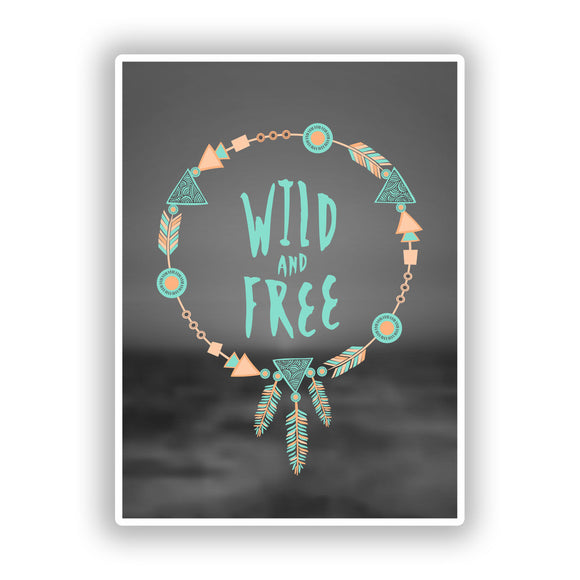 2 x Wild and Free Vinyl Stickers Travel Luggage #10153