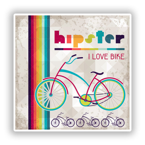 2 x Hipster I Love Bikes Vinyl Stickers Travel Luggage #10158
