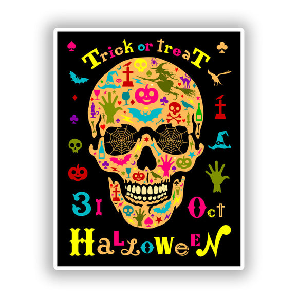2 x Trick or Treat Halloween Vinyl Stickers Travel Luggage #10166