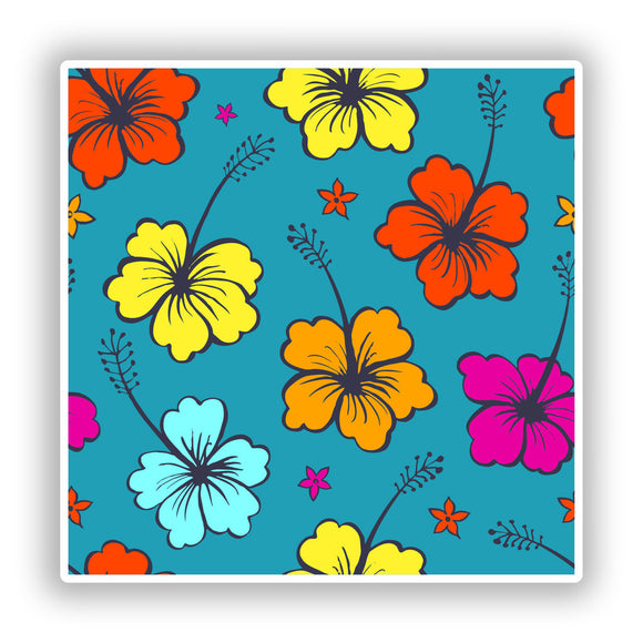 2 x Hibiscus Flower Vinyl Stickers Travel Luggage #10167