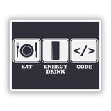 2 x Eat Energy Drink Code Vinyl Stickers Travel Luggage #10182