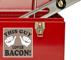 2 x This Guy Loves Bacon Vinyl Stickers Travel Luggage #10192